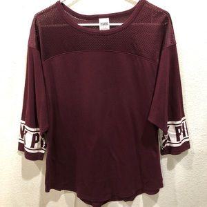 PINK Victoria's Secret burgundy t-shirt, size L